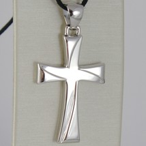 Cross White Gold 750 18K Pendant, Squared, Carved, Stylized, Made Italy image 1