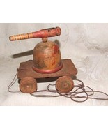 Antique One-of-a-Kind Hand Made Wood FOLK ART Turret Cannon PULL TOY on ... - $375.00