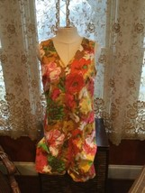TALBOTS Floral Shift Dress Bright Colors Cotton Sleeveless Pockets Size 14 Lined - $18.70