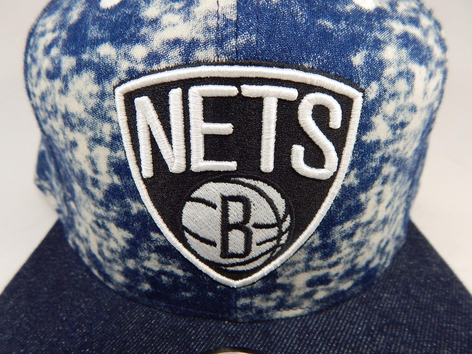 Brooklyn Nets Mitchell & Ness Size 7 1/4 Crown Fitted NBA Cap Hat Denim Blue