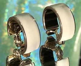 VTG 90s MONET Signed Gold/Ivory Winter White Enamel Chunky Hoop Clip On ... - $14.00