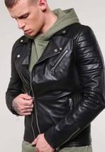 Mens Genuine Lambskin Leather Slim Fit Biker Jacket XS S M L XL 2XL 3XL - $69.29+