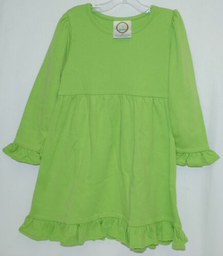 Blanks Boutique Long Sleeved Color Lime Green Ruffle Dress Size 3T