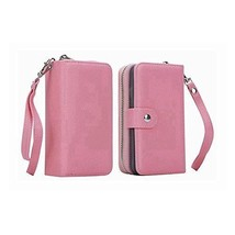 iPhone X Wallet Case PU Leather Detachable Zipper Folio Card Slots Pink - $25.60
