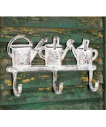 NWT Cast Iron Metal White Antiqued Finish Watering Cans Wall Hook Hanger... - $21.77