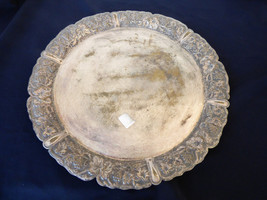 "Vintage Silver Plate Round Platter Tray detailed Grape Pattern edge 15"" - $64.35"