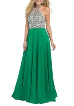 Women's Green Halter A-line Beaded Chiffon Long Prom Dresses Formal Evening Gown - $156.00