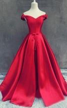 Long Elegant Off Shoulder Lace Up Corset Red Satin Prom Formal Gown Dres... - $149.19