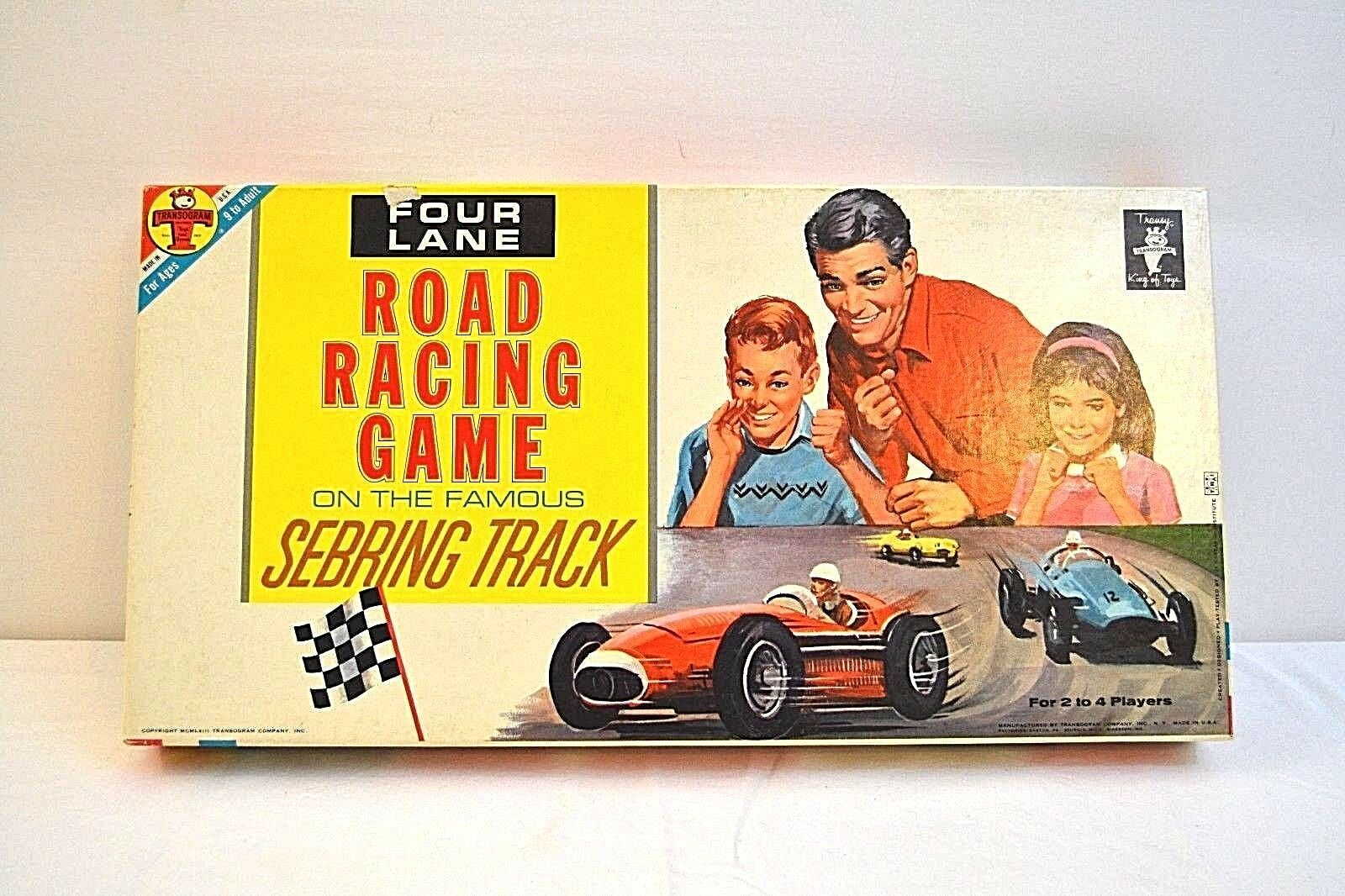 Transogram Rare Four Lane Road Racing Game on the Famous Sebring Track 1963