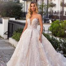 New Top Celeb Luxury A-Line Princess Ball Gown Long Sleeve Lace Appliques High D image 4