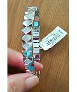 Fossil Pave Pyramids Stainless Steel Semi Precious Stone Bracelet NWT - $38.99