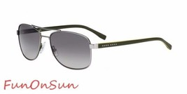 Hugo Boss Men's Sunglasses 0762 QJI Matte Ruthenium Khaki/Brown Polarize... - $109.61