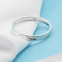 Minimalism 14K White Gold Men Engagement Wedding Ring Band Introverted Love image 3