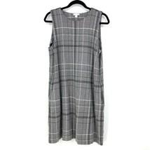 J Jill Womens Sz Large Tall Ponte Sleeveless Shift Dress Knit Plaid Gray... - $38.99