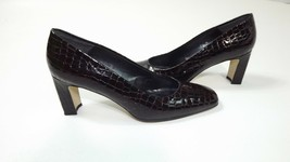 Etienne Aigner Womens BROWN Croc Embossed Patent Classic Heels Pumps Size 7.5 N - $17.10