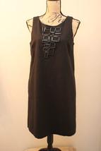 KENSIE Womens Black Linen Sheath Party Cocktail Dress LARGE Square Embellished - $34.62