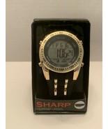 Sharp Men SHA01WMM Digital watch black and gold daily alarm stopwatch ba... - $18.95