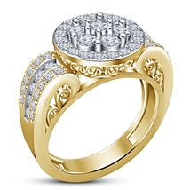 Beautiful Engagement Band Ring Round Cut Diamond Yellow Gold Plated 925 Silver - $84.99