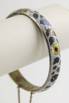 ESTATE VINTAGE Jewelry STERLING SILVER ENAMEL CLOISONNE HINGED BANGLE BR... - $50.00
