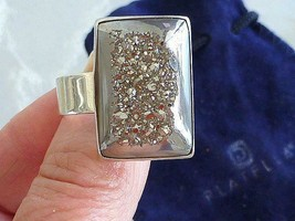 Vintage PLATELLA Sterling Silver Druzy Ring Modern Off Center Design w P... - $128.69