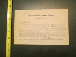 Ackley Iowa The First National Bank IA 1915 Letterhead 858 - $10.99