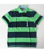 Tommy Hilfiger Mens Polo Striped Short Sleeve Shirt Green Blue Size Smal... - $38.79