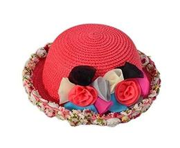 PANDA SUPERSTORE Lovely Summer Straw Beach Rose Red Girl Hat