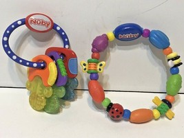 Nuby Infant Baby Teether Lot of 2 Bug a Loop and Keys Multicolor - $10.62