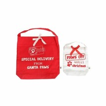 Paws Off Until Christmas Gift Bags Set 2 Red White Special Delivery Sant... - $12.60