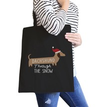 Dachshund Through The Snow Black Canvas Bags - $14.99