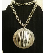 Zebra Engraved Hammered Chain Pendant Necklace - $20.00