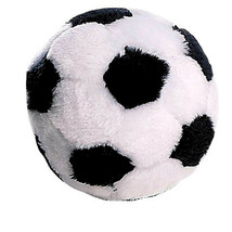 Dog Toys Soft Plush Soccer Ball Squeaker  Black and White Sports Fetch 4... - $9.79