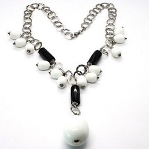 Silver necklace 925, Onyx Black, White Agate Drop Waterfall Pendant image 2