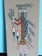 NATIVE AMERICAN NAVAJO SAND PAINTING   artist signed 12 x 6   - $37.39