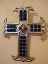 Blue Tile Rhinestone DECORATIVE WALL CROSS ORNATE SILVERTONE  - $34.65