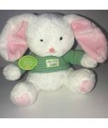 Hallmark My First Easter Bunny Plush White Green Striped Shirt stuffed a... - $24.13