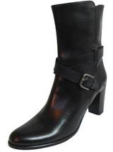 Sesto Meucci Mid Heel Boots Strap Buckle Sz 10 Women's Black Made In Ita... - $126.42