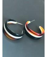 Estate Faux Tortoise Black & White Plastic Striped Tapered Hoop Post Ear... - $14.89