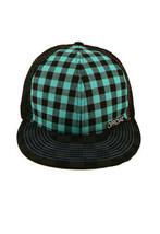 Official Black Turquoise Checker Mesh Snapback Baseball Hat Cap NWT image 2