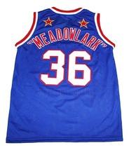Meadowlark #36 Harlem Globetrotters Men Basketball Jersey Blue Any Size image 5