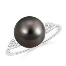 10mm Classic Ball Tahitian Cultured Black Pearl Diamond Cocktail Ring - $872.10
