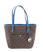 New MICHAEL KORS Brown & Blue Signature Tote Shopper Bag w/ Medallion - $119.00