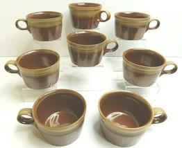 8 Mikasa Potters Art Ben Seibel VTG Organic Brown Beige Retro Coffee Mug... - $58.08