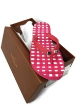 Coach Womens Size 6 Amel Painted Gingham Poppy Pink Thong Flip Flops San... - $34.64