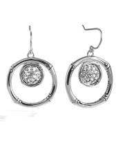 NWT AUTH JOHN HARDY Bamboo Lava 925 St Silver White Topaz Drop EARRINGS ... - $271.14