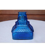 Vintage T.C.Wheaton Co Flint Glass Manufacturers Blue Glass Coin Bank USA - $43.99