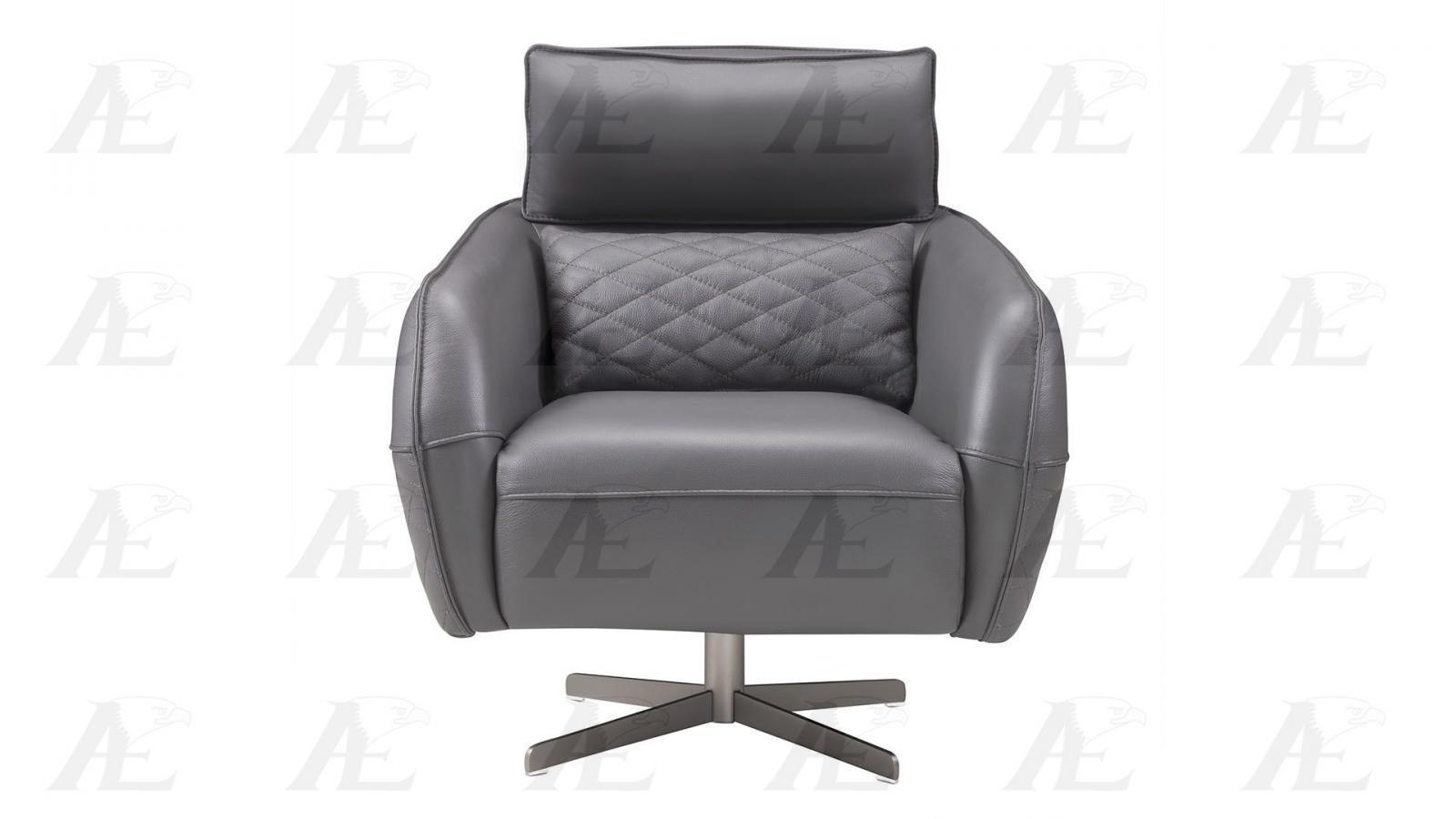 American Eagle EK-CH06A-GR Dark Gray Full Italian Leather Swivel Accent Chair