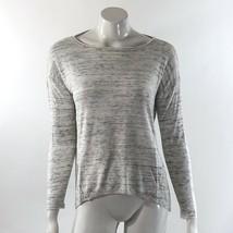 Lou & Grey Ann Taylor Sweater Size Medium White Gray Space Dye Boatneck Pullover - $15.83
