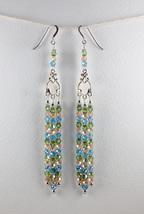 Chandelier Earrings, Handmade Long Green Pink Blue Glass Bead Silver Ear... - $30.00