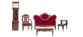 Dollhouse Miniature Victorian Living Room Set, 5 pc, Red w/Walnut Finish... - $39.87